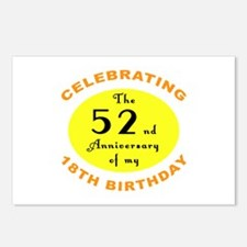 70th Birthday Anniversary Postcards (Package of 8)