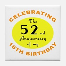 70th Birthday Anniversary Tile Coaster