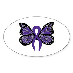 Relay For Life - Purple Ribbo Sticker (Oval 10 pk)