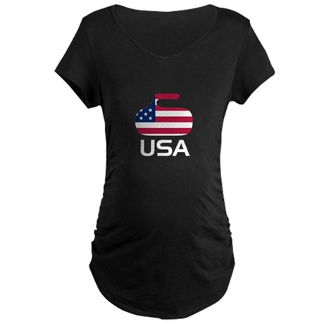USA curling Maternity Dark T-Shirt