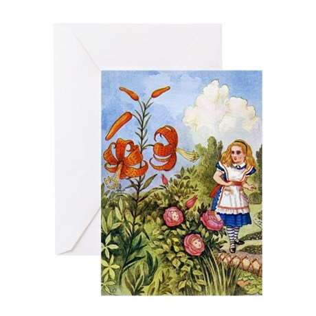 ALICE & THE TALKING FLOWERS Greeting Card