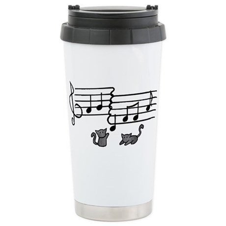 Black Kitty Notes Stainless Steel Travel Mug