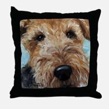 Funny Airedale terrier art Throw Pillow