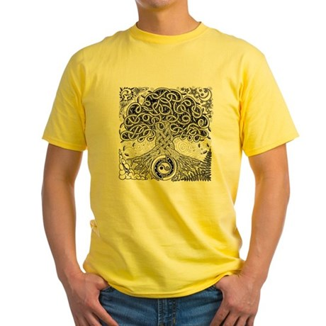 Celtic Tree of Life Ink Yellow T-Shirt