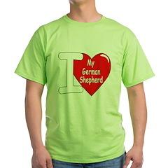 I Love My German Shepherd (Front) T-Shirt