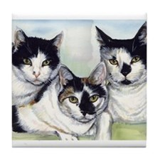 Funny Black and white cat Tile Coaster