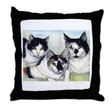 Cute Black and white tuxedo cat Throw Pillow