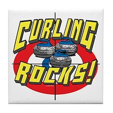 Curling Rocks Blue Tile Coaster