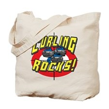 Curling Rocks Blue Tote Bag