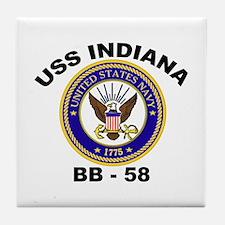 USS Indiana BB 58 Tile Coaster