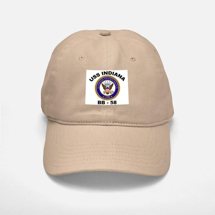 USS Indiana BB 58 Baseball Baseball Cap