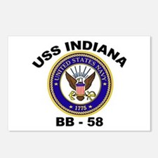USS Indiana BB 58 Postcards (Package of 8)
