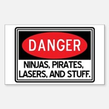 Pirates, Lasers, Ninjas, and Sticker (Rectangle)