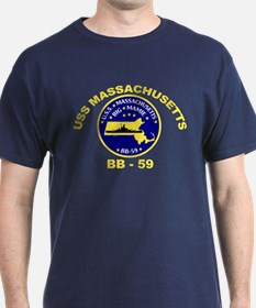 USS Massachusetts BB 59 Black T-Shirt