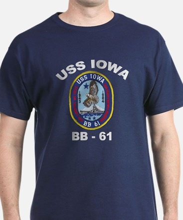 USS Iowa 61 Black T-Shirt