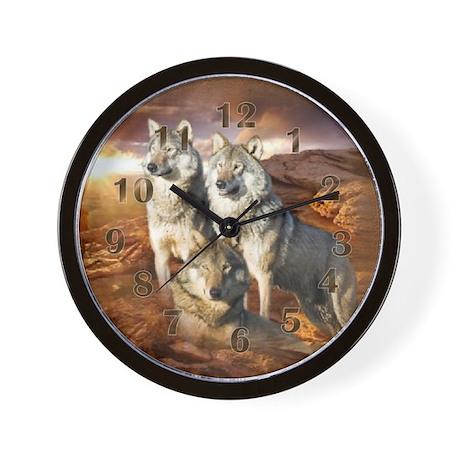 Wolves Trio Wall Clock