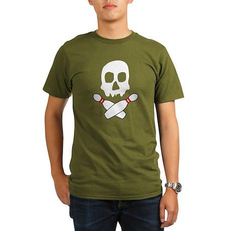 Skull Bowling Organic Men's T-Shirt (dark)