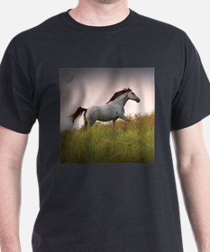 Black T-Shirt with Saphire Blue Running Horse