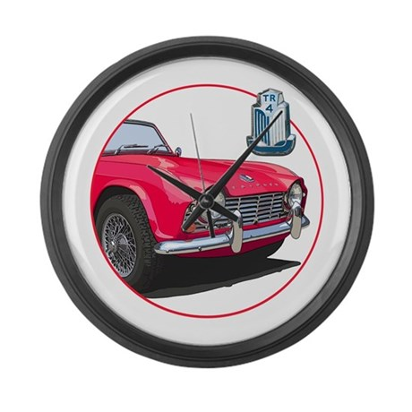 The red TR4 Large Wall Clock