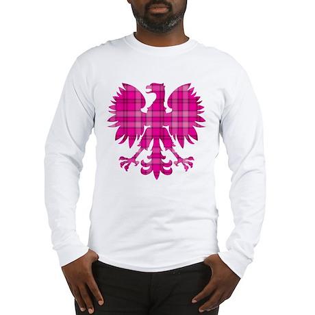 Pink Plaid Polish Eagle Long Sleeve T-Shirt