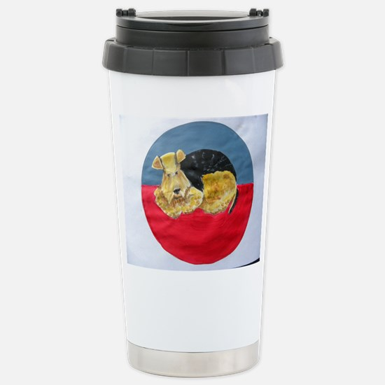 Stainless Steel Travel Mug with sleeping Airedale