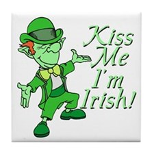 Kiss Me -- I'm Irish Tile Coaster