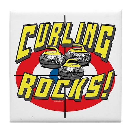 Curling Rocks Yellow Tile Coaster