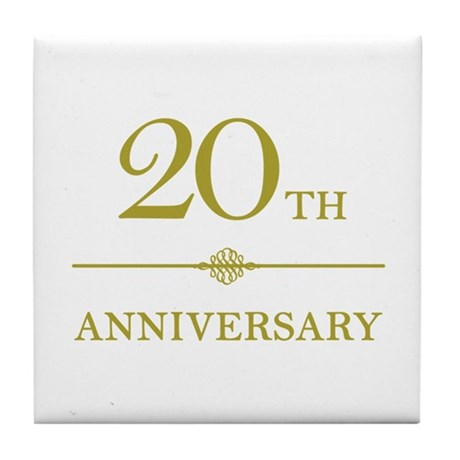 Stylish 20th Anniversary Tile Coaster