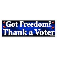 Got Freedom Thank a Voter Bumper Sticker