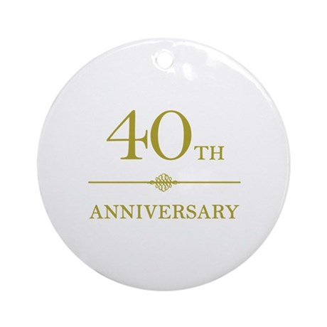 Stylish 40th Anniversary Ornament (Round)