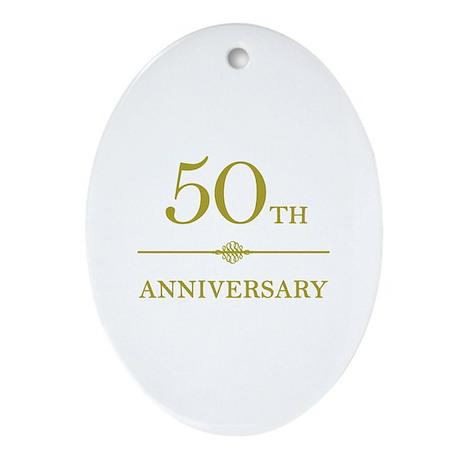 Stylish 50th Anniversary Ornament (Oval)