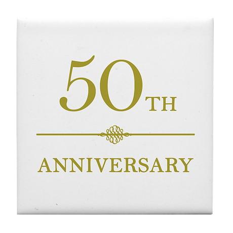 Stylish 50th Anniversary Tile Coaster