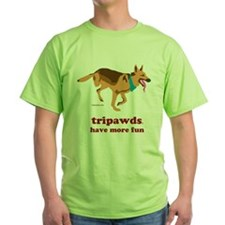 Tripawds Have More Fun Green T-Shirt