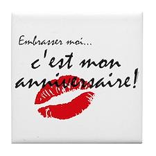 French Kiss Me Birthday Tile Coaster