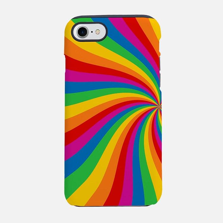 Rainbow Twist Stripes iPhone 7 Tough Case