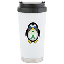 Penguin Green Ribbon Awareness Travel Mug