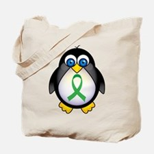 Penguin Green Ribbon Awareness Tote Bag