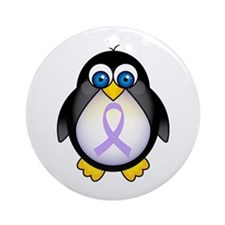 Penguin Lavender Ribbon Awareness Ornament (Round)