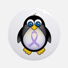 Penguin Lavender Ribbon Awareness Ornament (Round)