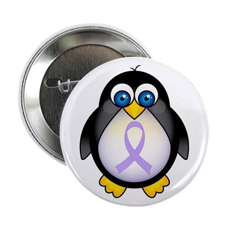 "Penguin Lavender Ribbon Awareness 2.25"" Button"