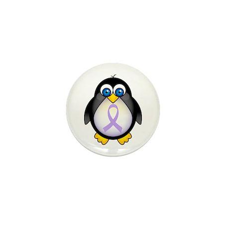 Penguin Lavender Ribbon Awareness Mini Button (10