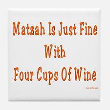Matzah and Wine Passover Tile Coaster
