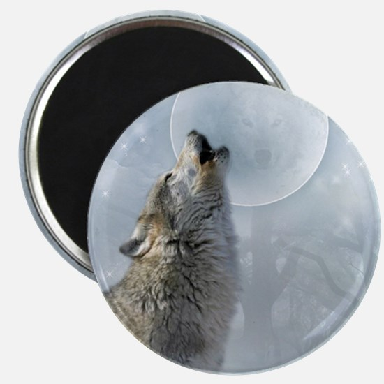 Wolf Blue Moon Magnet