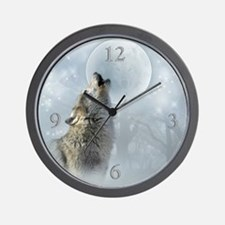 Wolf Blue Moon Wall Clock 10inch