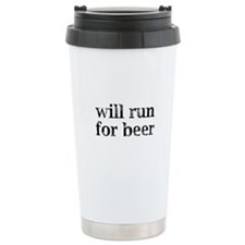 Will Run For Beer Thermos Mug