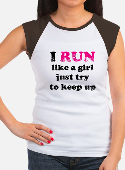 I run like a girl just try to Women's Cap Sleeve T