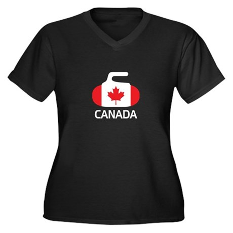 Canada Curling 2 Women's Plus Size V-Neck Dark T-S