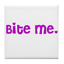 Bite me design Tile Coaster
