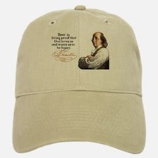 Franklin on Beer Baseball Baseball Cap