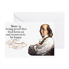 Franklin on Beer Greeting Card